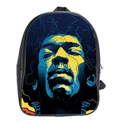 Gabz Jimi Hendrix Voodoo Child Poster Release From Dark Hall Mansion School Bag (xl) by Samandel
