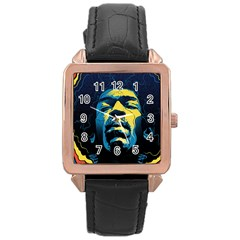 Gabz Jimi Hendrix Voodoo Child Poster Release From Dark Hall Mansion Rose Gold Leather Watch  by Samandel