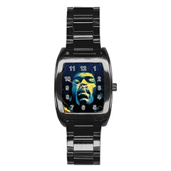 Gabz Jimi Hendrix Voodoo Child Poster Release From Dark Hall Mansion Stainless Steel Barrel Watch by Samandel