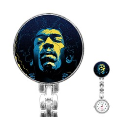 Gabz Jimi Hendrix Voodoo Child Poster Release From Dark Hall Mansion Stainless Steel Nurses Watch by Samandel