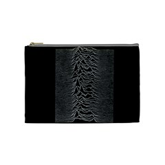 Grayscale Joy Division Graph Unknown Pleasures Cosmetic Bag (medium)  by Samandel