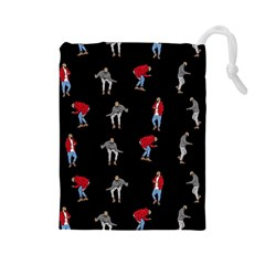 Hotline Bling Black Background Drawstring Pouches (large)