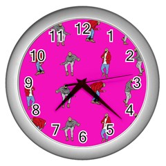 Hotline Bling Pink Background Wall Clocks (silver)
