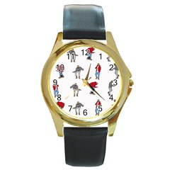 Hotline Bling White Background Round Gold Metal Watch