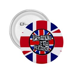 Punk Not Dead Music Rock Uk United Kingdom Flag 2 25  Buttons