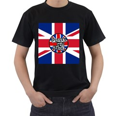 Punk Not Dead Music Rock Uk United Kingdom Flag Men s T Shirt (black) (two Sided)