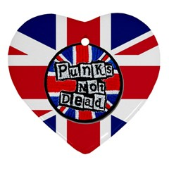 Punk Not Dead Music Rock Uk United Kingdom Flag Heart Ornament (two Sides) by Samandel