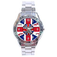 Punk Not Dead Music Rock Uk United Kingdom Flag Stainless Steel Analogue Watch