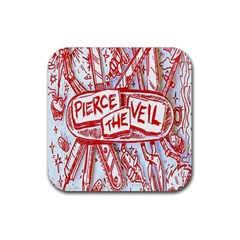 Pierce The Veil  Misadventures Album Cover Rubber Square Coaster (4 Pack)  by Samandel