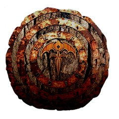 Queensryche Heavy Metal Hard Rock Bands Logo On Wood Large 18  Premium Flano Round Cushions by Samandel