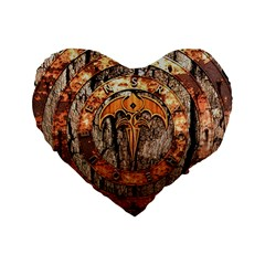 Queensryche Heavy Metal Hard Rock Bands Logo On Wood Standard 16  Premium Flano Heart Shape Cushions by Samandel