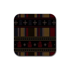 Tardis Doctor Who Ugly Holiday Rubber Square Coaster (4 pack)