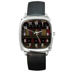 Tardis Doctor Who Ugly Holiday Square Metal Watch
