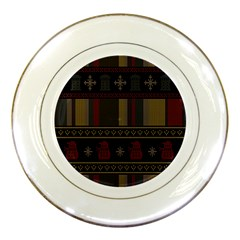 Tardis Doctor Who Ugly Holiday Porcelain Plates