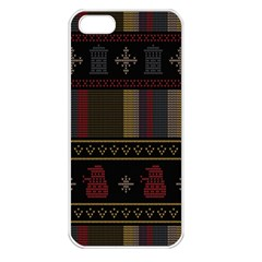 Tardis Doctor Who Ugly Holiday Apple Iphone 5 Seamless Case (white)