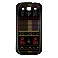 Tardis Doctor Who Ugly Holiday Samsung Galaxy S3 Back Case (Black)