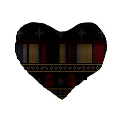 Tardis Doctor Who Ugly Holiday Standard 16  Premium Flano Heart Shape Cushions