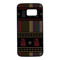 Tardis Doctor Who Ugly Holiday Samsung Galaxy S7 Black Seamless Case
