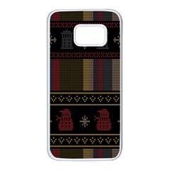 Tardis Doctor Who Ugly Holiday Samsung Galaxy S7 White Seamless Case by Samandel