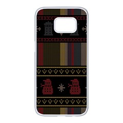 Tardis Doctor Who Ugly Holiday Samsung Galaxy S7 edge White Seamless Case