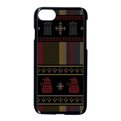 Tardis Doctor Who Ugly Holiday Apple iPhone 8 Seamless Case (Black)