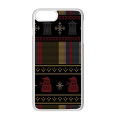 Tardis Doctor Who Ugly Holiday Apple iPhone 8 Plus Seamless Case (White)