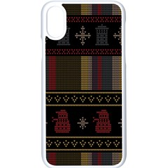 Tardis Doctor Who Ugly Holiday Apple iPhone X Seamless Case (White)
