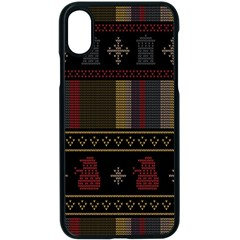 Tardis Doctor Who Ugly Holiday Apple iPhone X Seamless Case (Black)