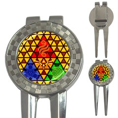 The Triforce Stained Glass 3 In 1 Golf Divots by Samandel