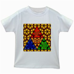 The Triforce Stained Glass Kids White T Shirts by Samandel