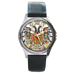 Imperial Coat Of Arms Of Austria Hungary  Round Metal Watch