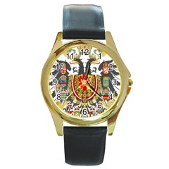 Imperial Coat Of Arms Of Austria Hungary  Round Gold Metal Watch