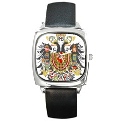 Imperial Coat Of Arms Of Austria Hungary  Square Metal Watch