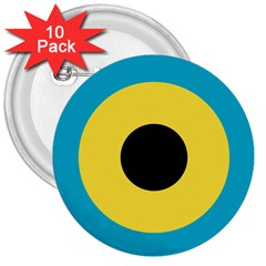 Roundel Of Royal Bahamas Defence Force Air Wing 3  Buttons (10 Pack)  by abbeyz71