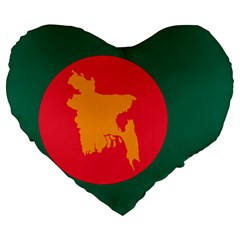 Flag Of Bangladesh, 1971 Large 19  Premium Flano Heart Shape Cushions by abbeyz71