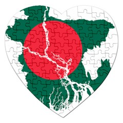Flag Map Of Bangladesh Jigsaw Puzzle (heart) by abbeyz71