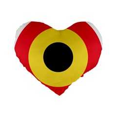 Roundel Of Belgian Air Force Standard 16  Premium Flano Heart Shape Cushions by abbeyz71