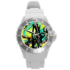 Dance Of Oil Towers 5 Round Plastic Sport Watch (l) by bestdesignintheworld