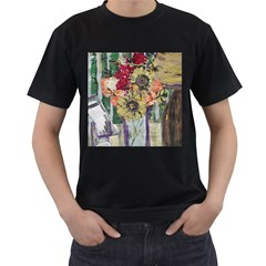 Sunflowers And Lamp Men s T-shirt (black) (two Sided) by bestdesignintheworld