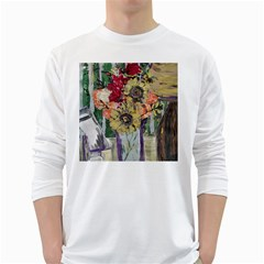 Sunflowers And Lamp White Long Sleeve T-shirts by bestdesignintheworld