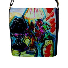 Still Life With Two Lamps Flap Messenger Bag (l)  by bestdesignintheworld