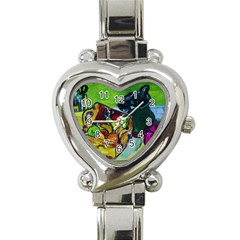 Still Life With A Pig Bank Heart Italian Charm Watch by bestdesignintheworld