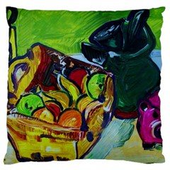 Still Life With A Pig Bank Large Cushion Case (two Sides) by bestdesignintheworld