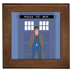 Tenth Doctor And His Tardis Framed Tiles