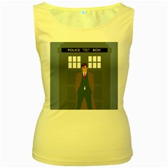 Tenth Doctor And His Tardis Women s Yellow Tank Top