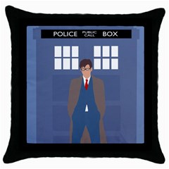 Tenth Doctor And His Tardis Throw Pillow Case (black) by Samandel