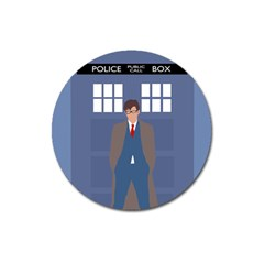Tenth Doctor And His Tardis Magnet 3  (round)