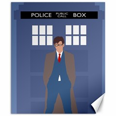 Tenth Doctor And His Tardis Canvas 8  X 10  by Samandel