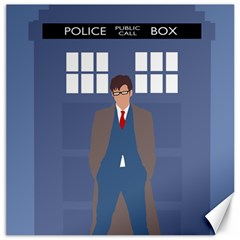 Tenth Doctor And His Tardis Canvas 16  X 16   by Samandel