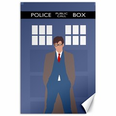 Tenth Doctor And His Tardis Canvas 24  X 36  by Samandel